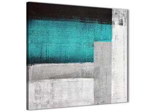 Framed Teal Turquoise Grey Painting Living Room Canvas Wall Art Decor - Abstract 1s429m - 64cm Square Print