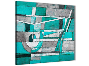Framed Turquoise Grey Painting Living Room Canvas Pictures Decorations - Abstract 1s403m - 64cm Square Print