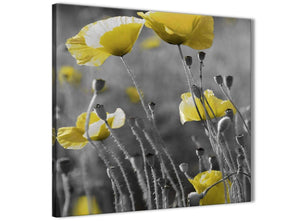 Framed Yellow Grey Poppy Flower - Poppies Floral Canvas Hallway Canvas Pictures Decorations - Abstract 1s258m - 64cm Square Print