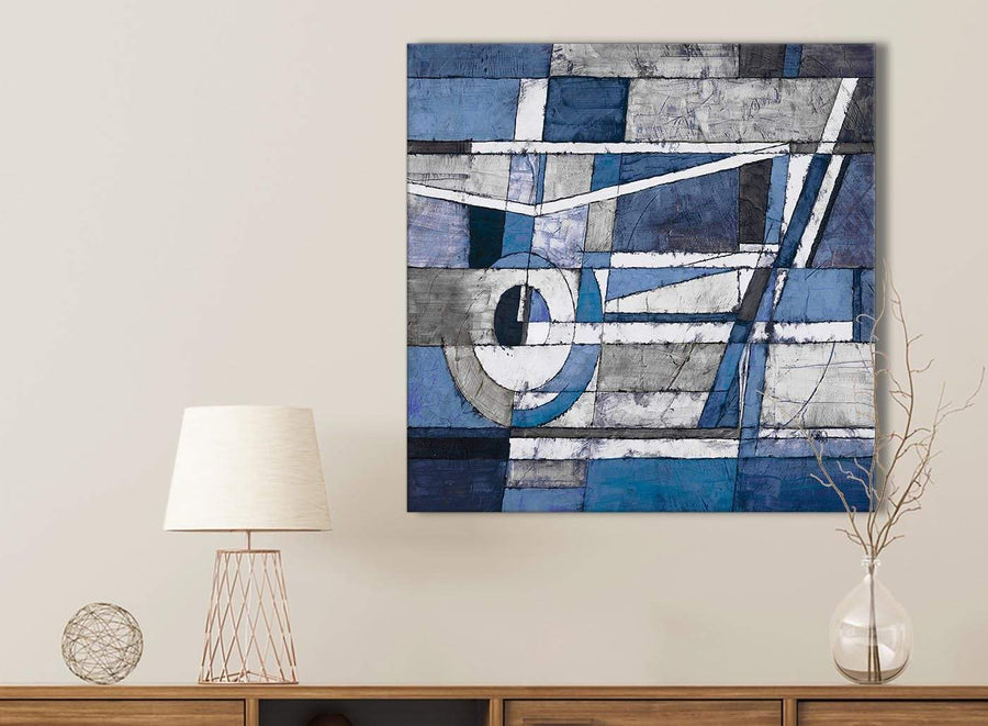 Indigo Blue White Painting Bathroom Canvas Pictures Accessories - Abstract 1s404s - 49cm Square Print