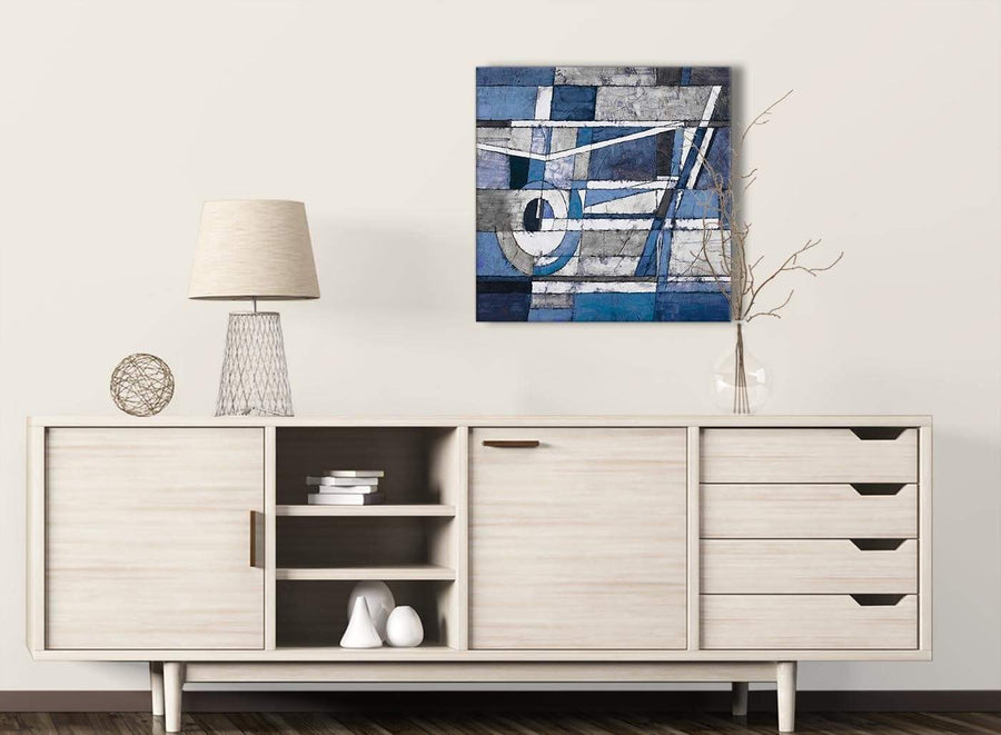 Indigo Blue White Painting Living Room Canvas Wall Art Decorations - Abstract 1s404m - 64cm Square Print