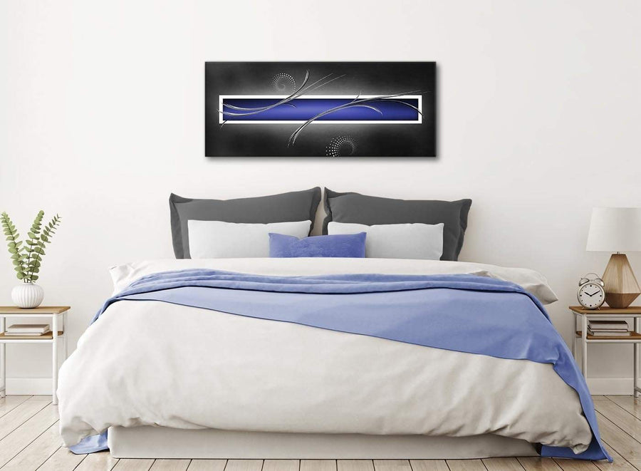 Indigo Navy Blue Grey White Abstract Living Room Canvas Wall Art Accessories - Abstract 1348 - 120cm Print