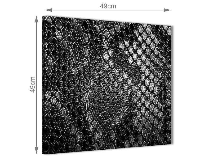 Inexpensive Black White Snakeskin Animal Print Bathroom Canvas Wall Art Accessories - Abstract 1s510s - 49cm Square Print
