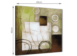 Inexpensive Brown Green Painting Kitchen Canvas Pictures Accessories - Abstract 1s421s - 49cm Square Print