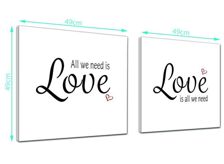 Inexpensive Pair of  Canvas Pictures All we Need is Love Word Art - Word Art - 2s477s - 49cm Squares Wall Art