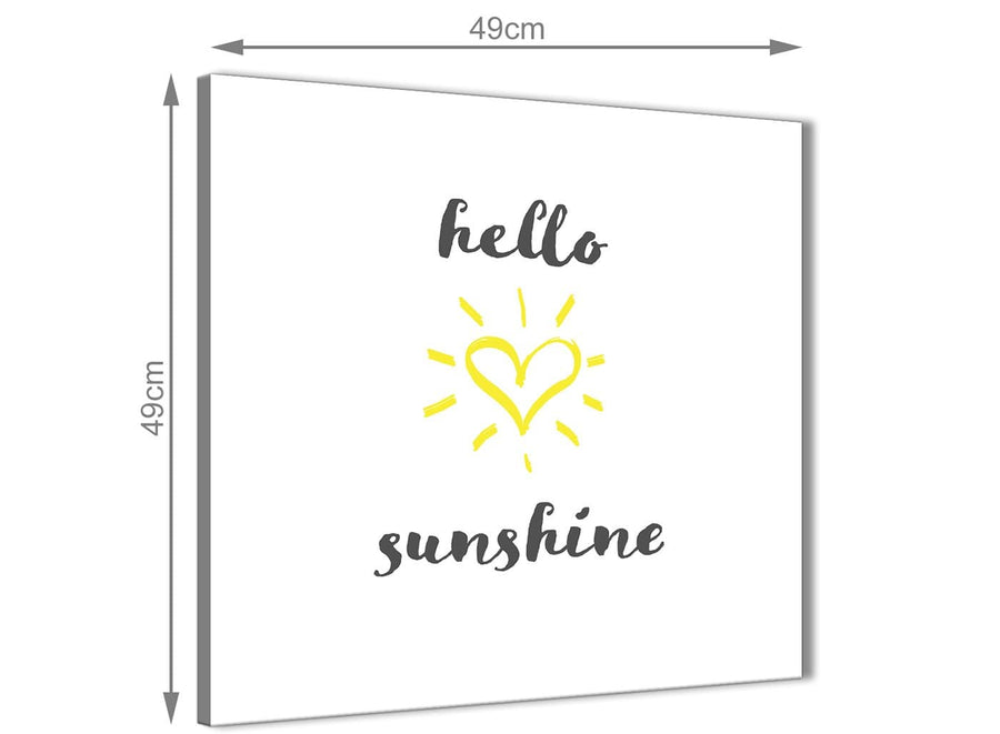 Inexpensive Canvas Prints Hello Sunshine - Word Art - 1s509s - 49cm Square Wall Art