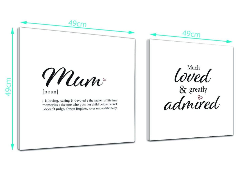Cheap Canvas Prints Mum - Word Art - 2s480s Black and White - 49cm Square Wall Art