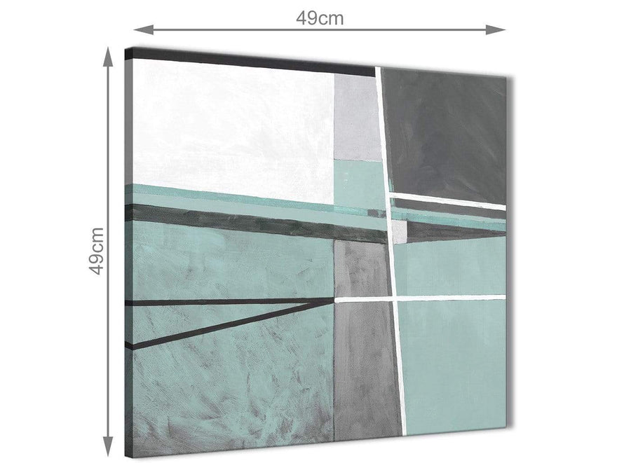 Inexpensive Duck Egg Blue Grey Painting Bathroom Canvas Wall Art Accessories - Abstract 1s396s - 49cm Square Print