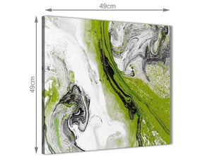 Inexpensive Lime Green and Grey Swirl Kitchen Canvas Wall Art Accessories - Abstract 1s464s - 49cm Square Print