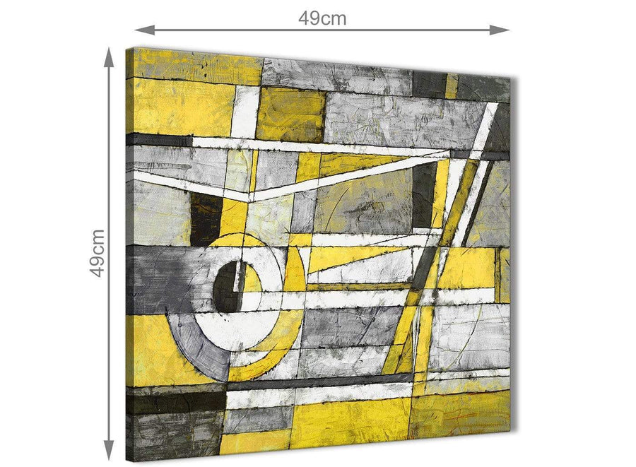 Inexpensive Yellow Grey Painting Bathroom Canvas Pictures Accessories - Abstract 1s400s - 49cm Square Print