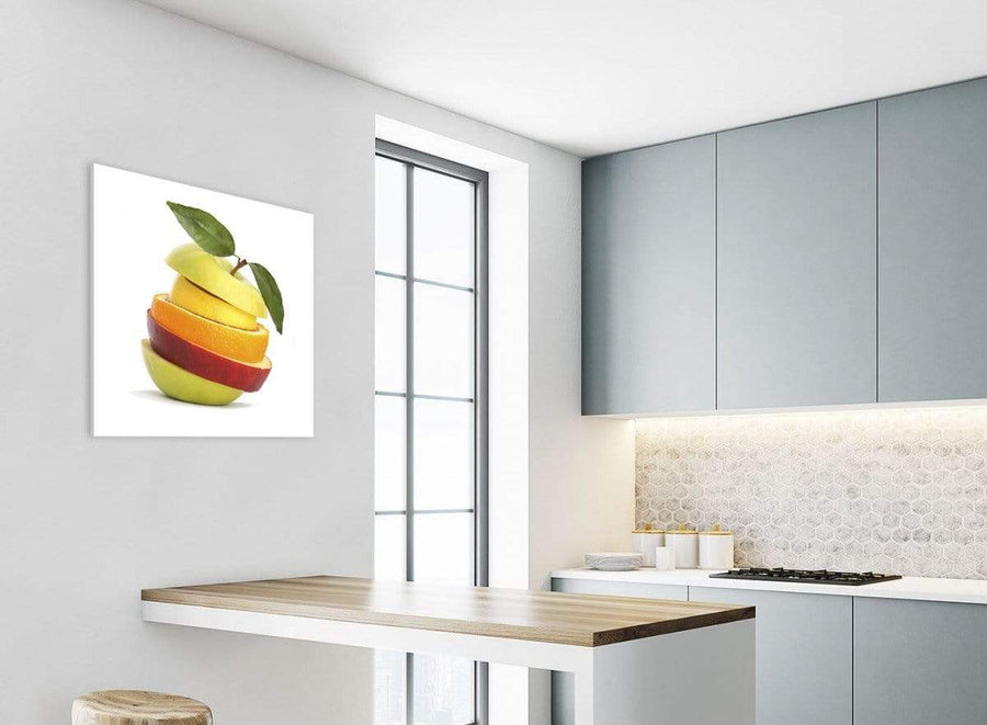 Kitchen Canvas Wall Art Sliced Fruit - Apple Shape Food Stack - 1s483m - 64cm Square Picture