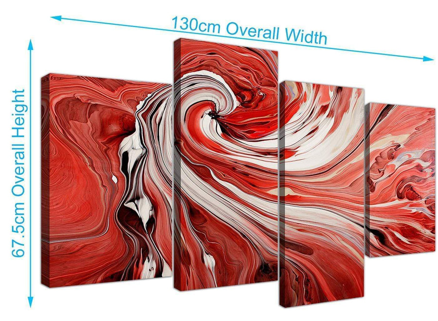 large abstract swirl canvas art red 4265