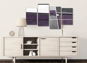 Large Aubergine Grey Painting Abstract Bedroom Canvas Pictures Decor - 4392 - 130cm Set of Prints