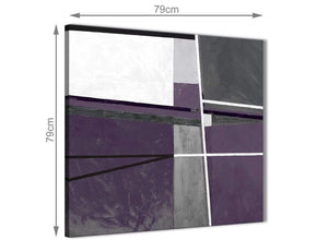 Large Aubergine Grey Painting Abstract Living Room Canvas Pictures Decor 1s392l - 79cm Square Print