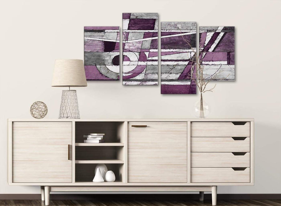 Large Aubergine Grey White Painting Abstract Bedroom Canvas Wall Art Decor - 4406 - 130cm Set of Prints