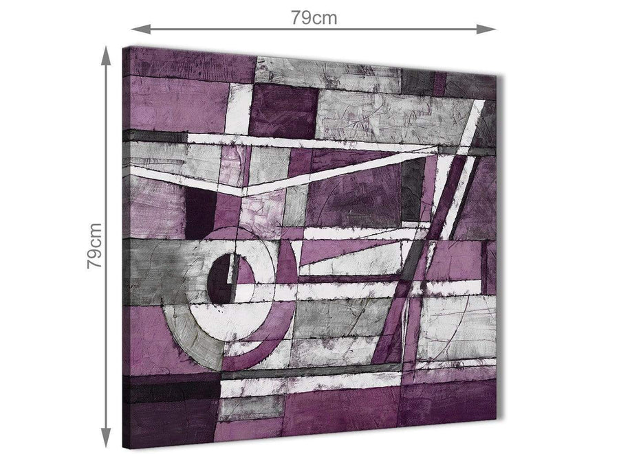 Large Aubergine Grey White Painting Abstract Dining Room Canvas Pictures Decorations 1s406l - 79cm Square Print