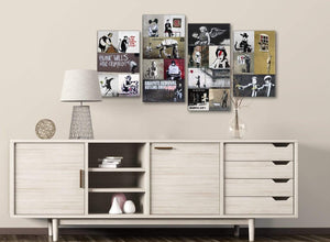 Large Banksy Collage - Bedroom Canvas Pictures Decor - 4500 - 130cm Set of Prints
