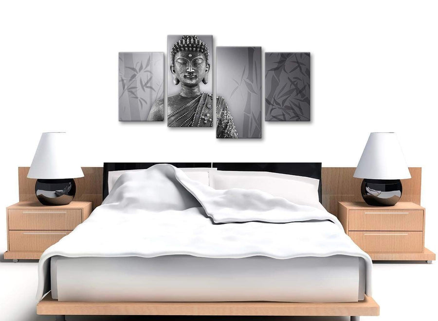 Large Black White Buddha Living Room Canvas Pictures Decor - 4373 - 130cm Set of Prints