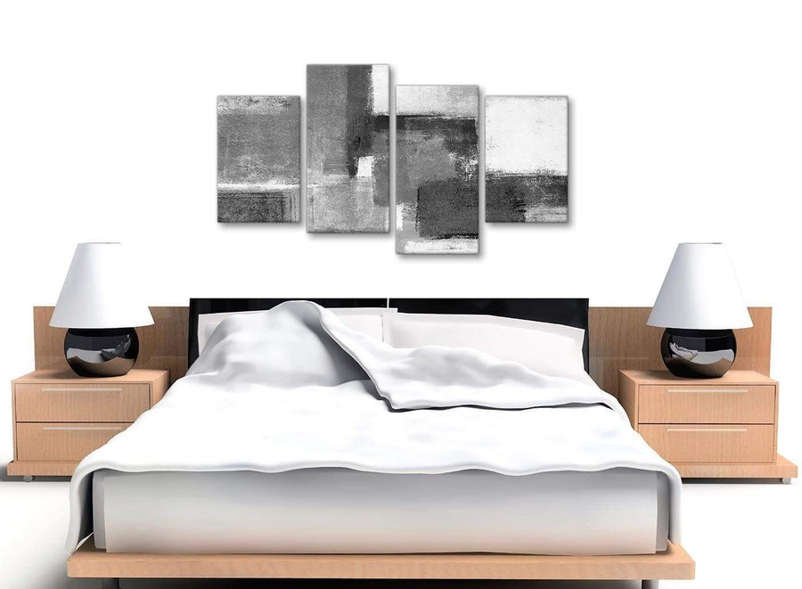 Large Black White Grey Abstract Bedroom Canvas Pictures Decor - 4368 - 130cm Set of Prints
