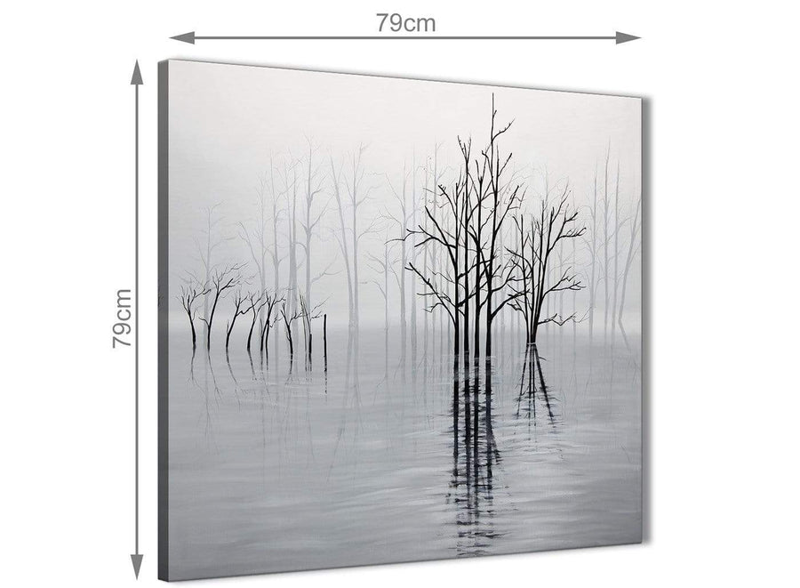 Large Black White Grey Tree Landscape Painting Dining Room Canvas Pictures Decorations 1s416l - 79cm Square Print