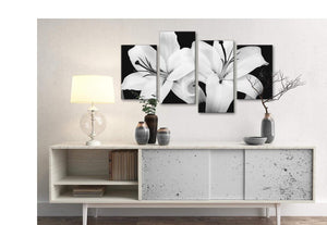 Large Black White Lily Flower Bedroom Canvas Wall Art Decor - 4458 - 130cm Set of Prints