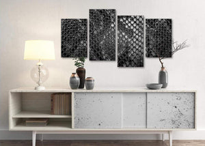 Large Black White Snakeskin Animal Print Abstract Bedroom Canvas Pictures Decor - 4510 - 130cm Set of Prints