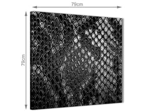 Large Black White Snakeskin Animal Print Abstract Living Room Canvas Wall Art Decorations 1s510l - 79cm Square Print