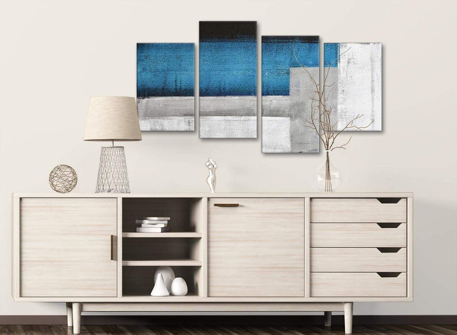 Large Blue Grey Painting Abstract Living Room Canvas Pictures Decor - 4423 - 130cm Set of Prints