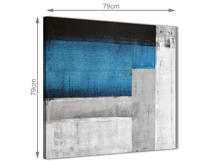 Large Blue Grey Painting Abstract Office Canvas Wall Art Decorations 1s423l - 79cm Square Print