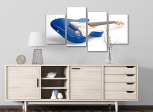 Large Blue White Fender Electric Guitar - Living Room Canvas Pictures Decor - 4447 - 130cm Set of Prints