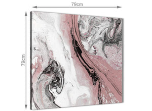 Large Blush Pink and Grey Swirl Abstract Office Canvas Pictures Decorations 1s463l - 79cm Square Print