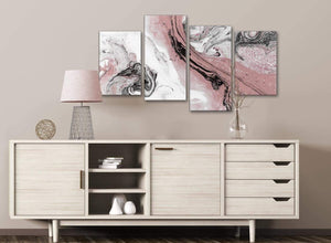 Large Blush Pink and Grey Swirl Abstract Living Room Canvas Wall Art Decor - 4463 - 130cm Set of Prints