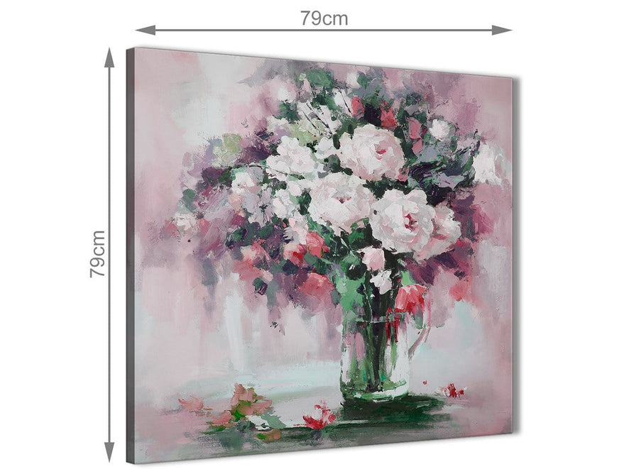 Large Blush Pink Flowers Painting Abstract Hallway Canvas Pictures Decor 1s441l - 79cm Square Print