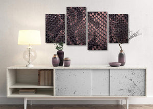 Large Blush Pink Snakeskin Animal Print Abstract Bedroom Canvas Wall Art Decor - 4473 - 130cm Set of Prints