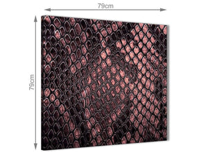 Large Blush Pink Snakeskin Animal Print Abstract Hallway Canvas Wall Art Decor 1s473l - 79cm Square Print