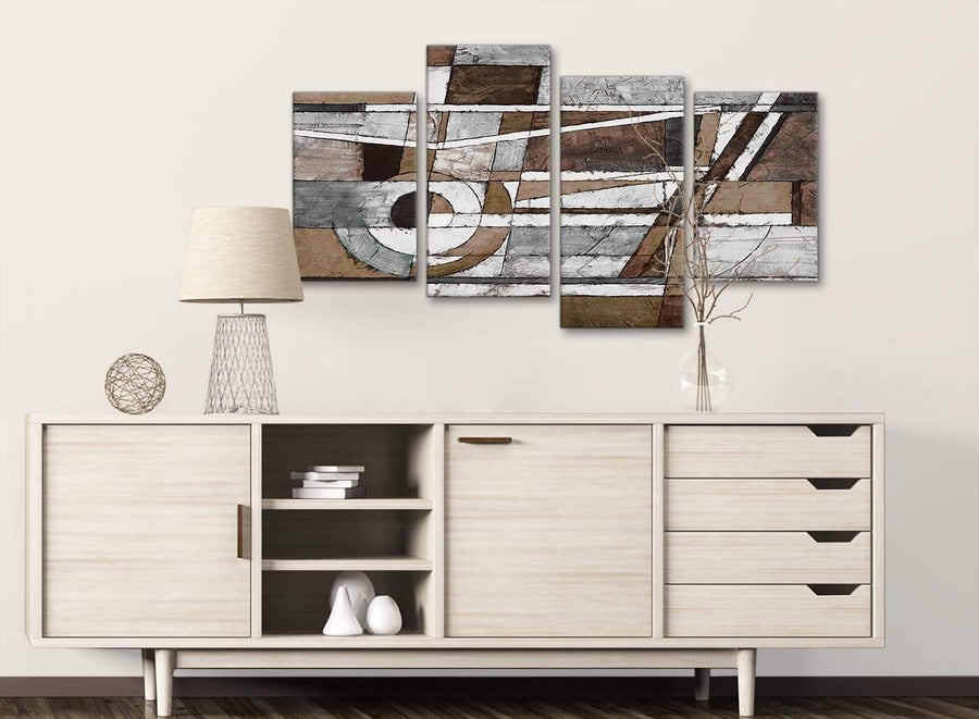 Large Brown Beige White Painting Abstract Bedroom Canvas Pictures Decor - 4407 - 130cm Set of Prints