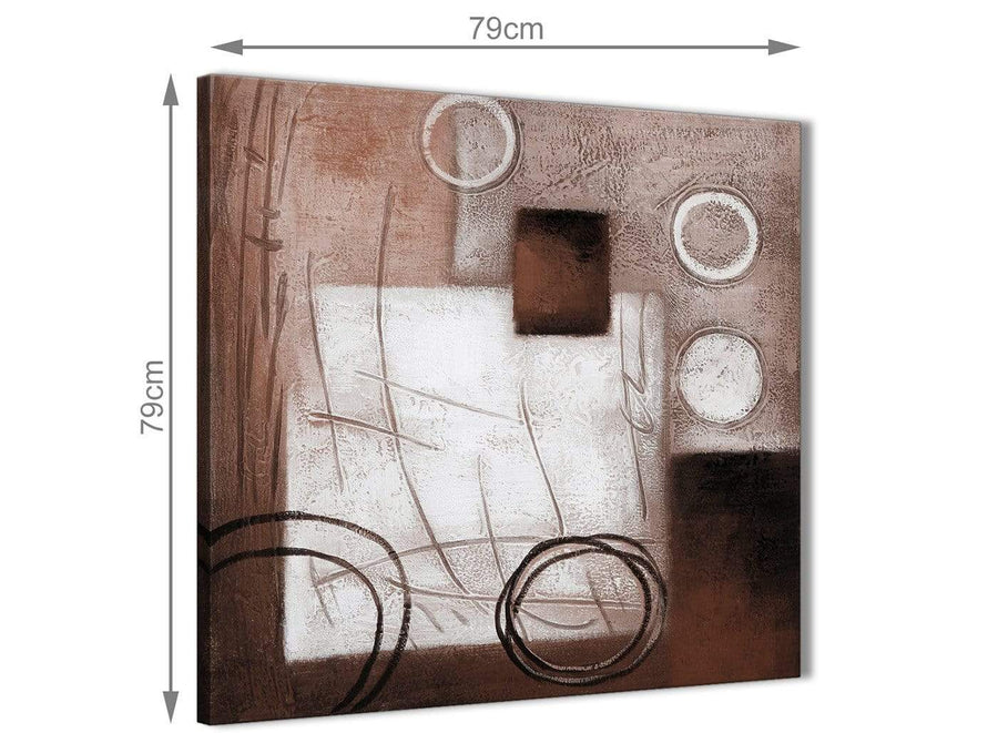Large Brown White Painting Abstract Dining Room Canvas Wall Art Accessories 1s422l - 79cm Square Print
