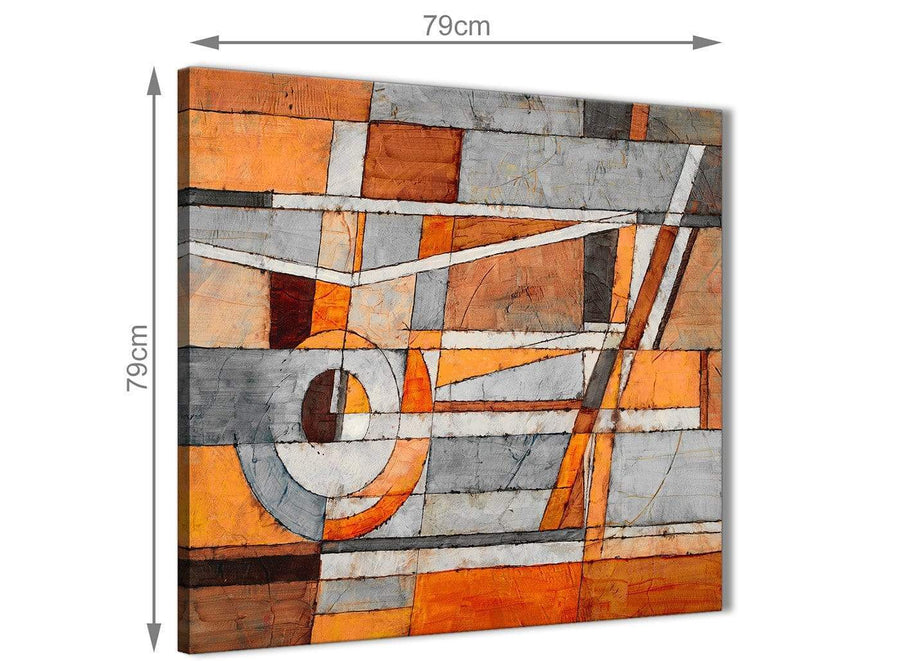 Large Burnt Orange Grey Painting Abstract Bedroom Canvas Wall Art Decorations 1s405l - 79cm Square Print