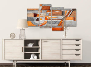 Large Burnt Orange Grey Painting Abstract Bedroom Canvas Pictures Decor - 4405 - 130cm Set of Prints