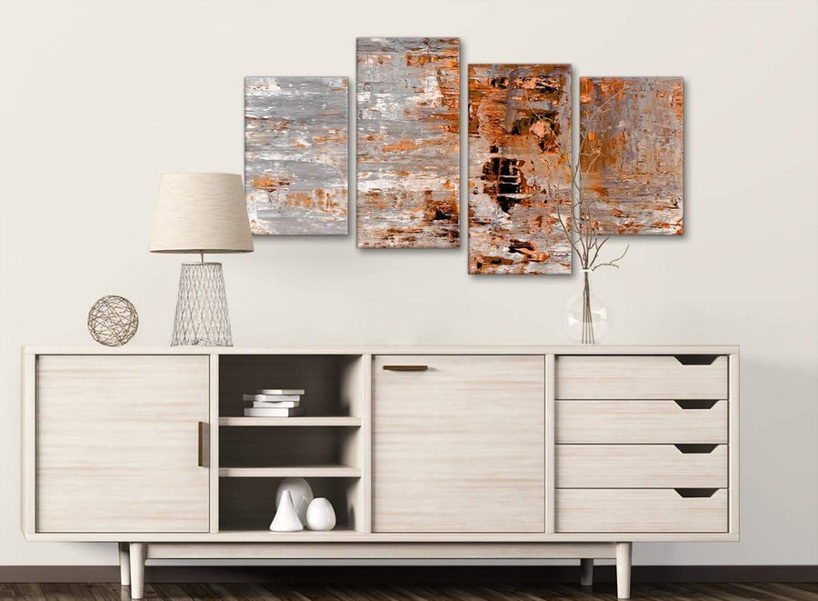 Large Burnt Orange Grey Painting Abstract Bedroom Canvas Pictures Decor - 4415 - 130cm Set of Prints