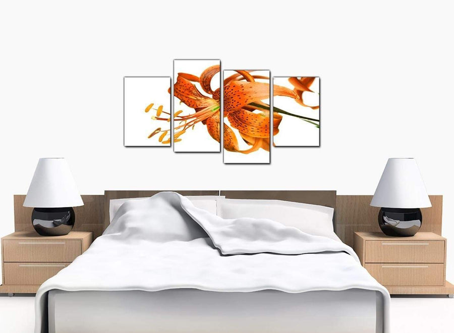 Four Panel Set of Bedroom Orange Canvas Picture