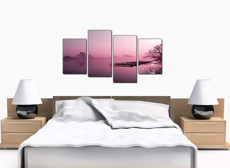 4 Piece Set of Modern Plum Canvas Picture