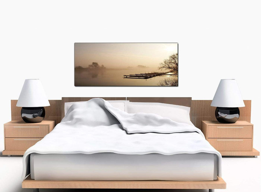 Lake Sunrise Large Brown Canvas Art