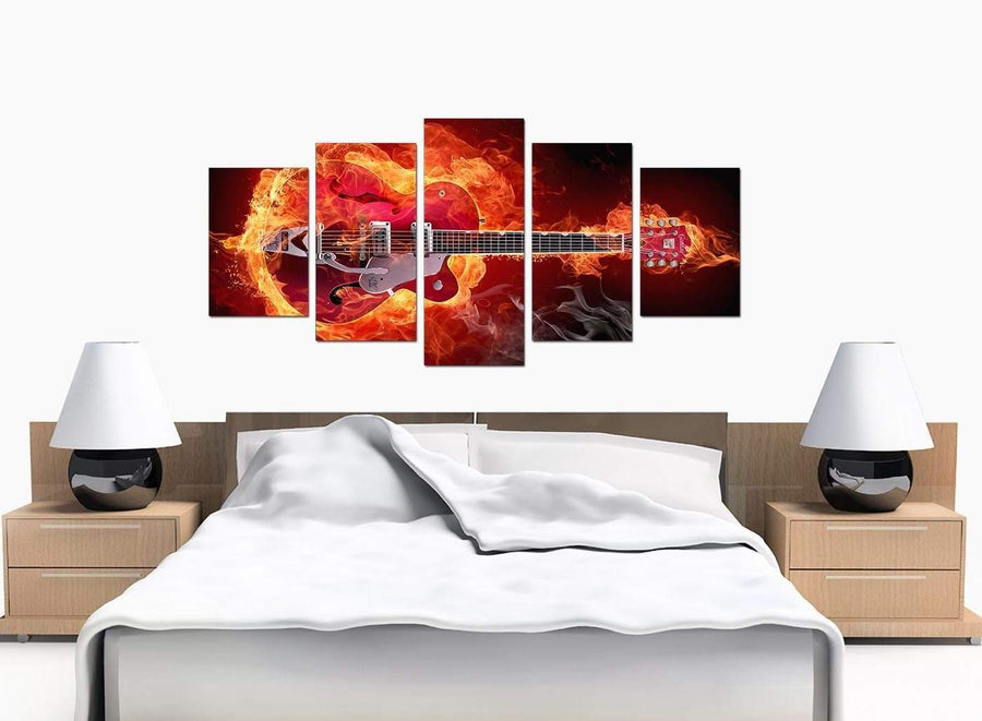 Five Panel Set of Bedroom Red Canvas Picture