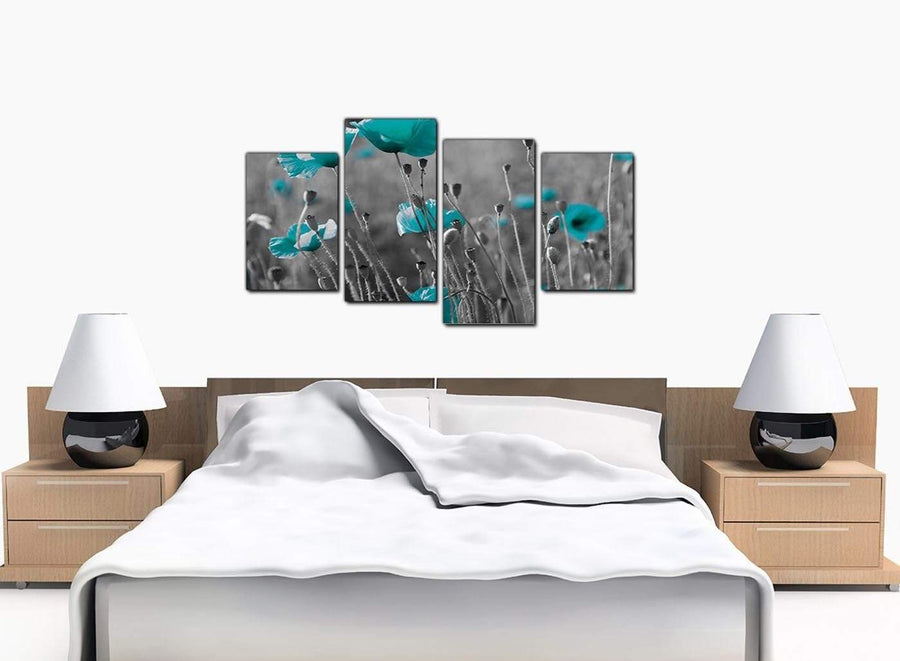 Four Panel Set of Cheap Teal Canvas Picture