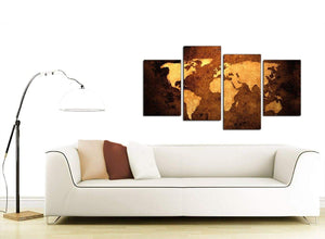 World Map Canvas Wall Art in Tan for the Home