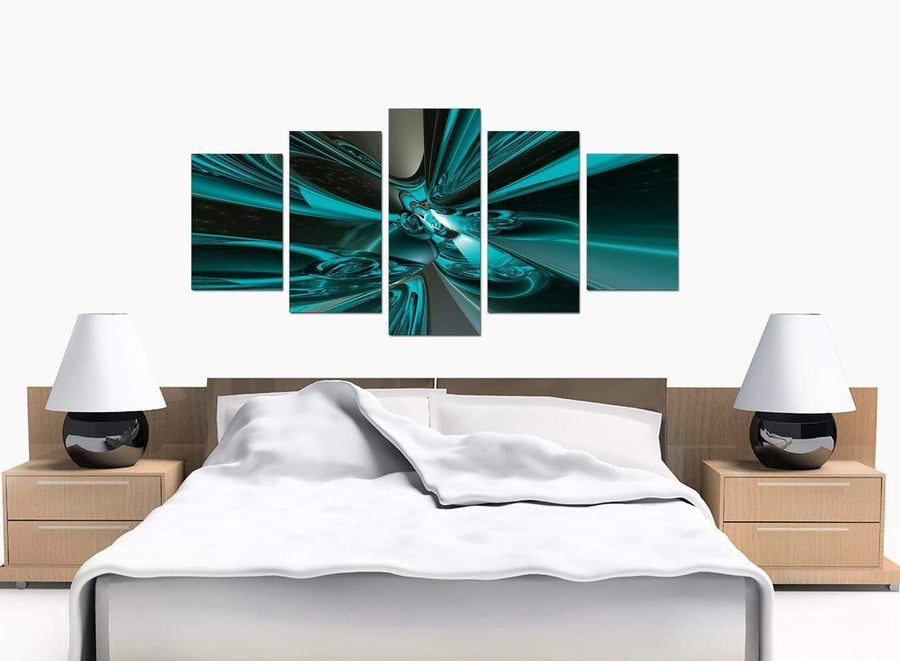 5 Part Set of Bedroom Teal Canvas Pictures