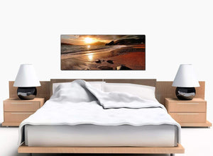 Beach Sunset Bedroom Brown Canvas Prints