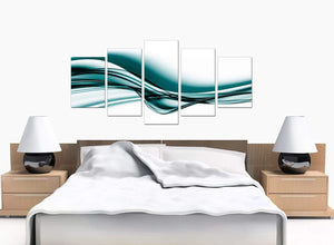 Five Part Set of Modern Teal Canvas Prints
