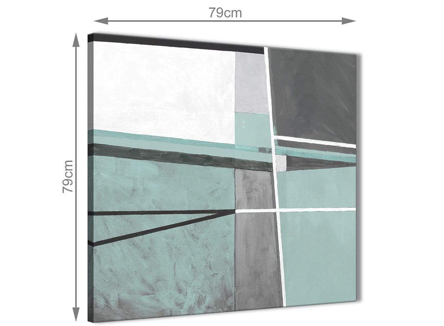 Large Duck Egg Blue Grey Painting Abstract Office Canvas Pictures Accessories 1s396l - 79cm Square Print